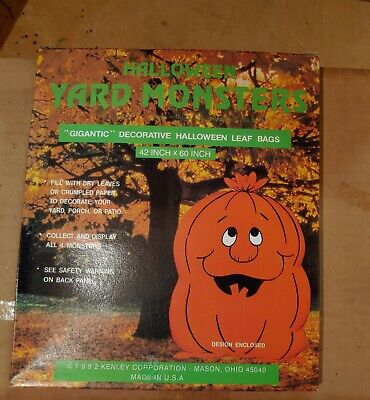 Lot of 6 Halloween Monsters Leaf Bags 42 x 60 inches