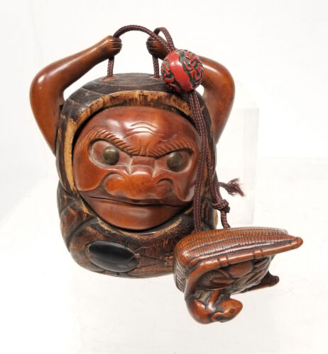 Antique Japanese Inro Netsuke Ojime Bead Case Carved Wood Rat Mushroom