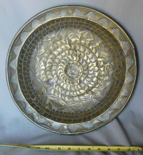 Rare Antique brass tithing alms bowl tray communion embossed 17th c. hammered