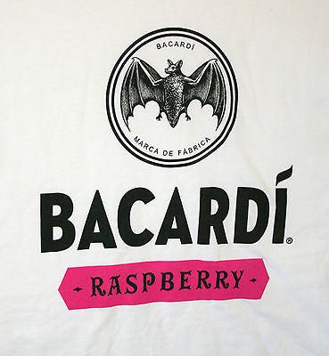 Bacardi Raspberry Rum White 100% Cotton Mens Bat T-Shirt New Size Large