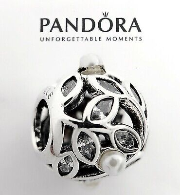 Authentic Pandora Silver 925 Luminous Leaves Pearl Charm 791754LH