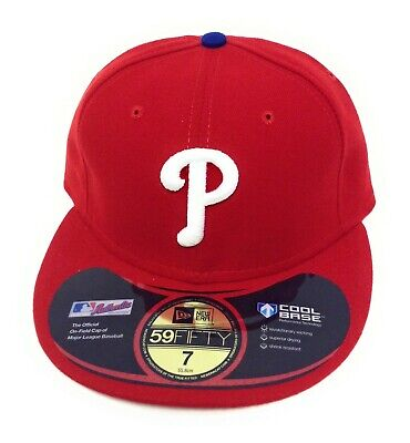 Mens New Era 59FIFTY Phillies Cool Base Fitted MLB Authentic Baseball Hat Cap
