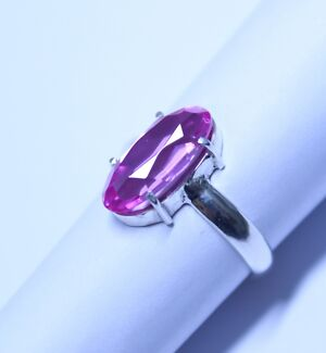 European Lab Created Pink Sapphire in a  Silver (925) Ring