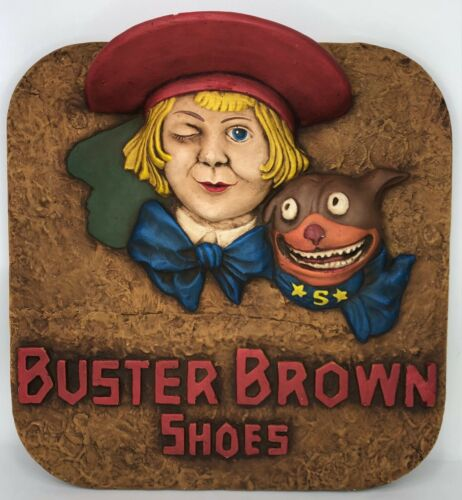1920's Antique Buster Brown Shoes 3D Advertising Figure Store Display Plaque