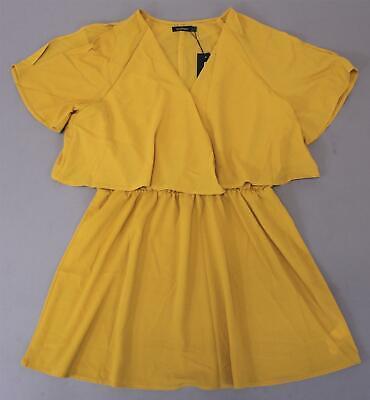 Boohoo Women's Plus Ruffle Open Shoulder Dress KB6 Mustard Size US:12/UK:16 NWT