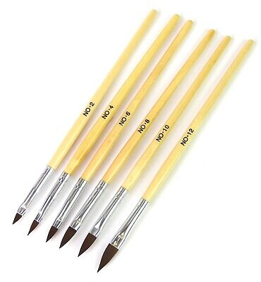 6pcs Pro Round Sable Acrylic Nail Art Brush Liquid Powder Size 2 4 6 8 10 12 Set