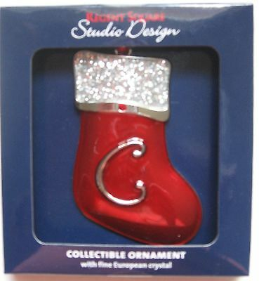 Regent Square Red Stocking Letter C Christmas Ornament Monogram Initial New MIP