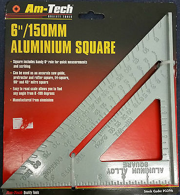 "Aluminium Roofing Speed Square Level Ruler 6"" 150mm easy to read scale 0 to 180"