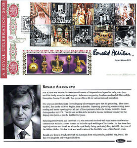 2-JUNE-2003-CORONATION-BENHAM-FIRST-DAY-COVER-SHS-SIGNED-RONALD-ALLISON