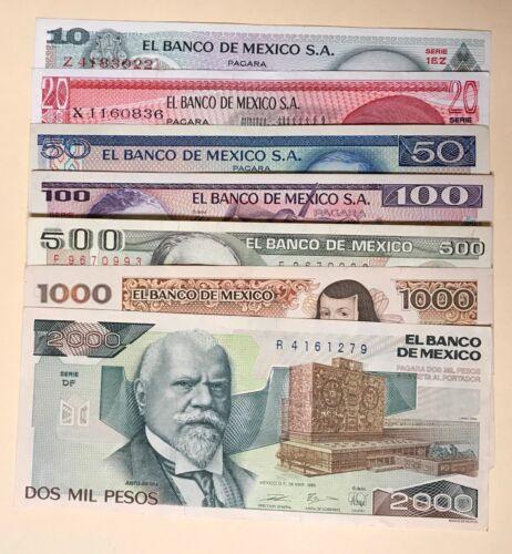 Mexico 10 20 50 100 500 1000 2000 Pesos 1970s-1980s (7 Pcs Set) Mexican bills