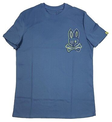 Psycho Bunny Men's Gulf Blue Large Glow Bunny Crew-Neck Short Sleeve -