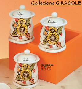 Tris barattoli sale zucchero caff in ceramica di for Porta zucchero caffe sale