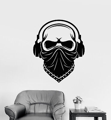 Bandana Dekorationen (Vinyl Wall Decal Skull In Headphones Music Face Bandana Mask Stickers (3008ig))