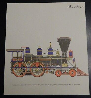 """Thomas Rogers"" 1855 American Steam Locomotive Color Tre Tryckare Train Print"