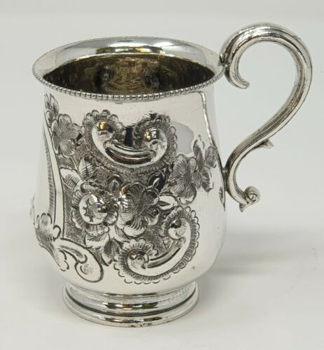 Antique Silver Plated  ARMORIAL Unengraved Christening Cup by Francis Howard (7)