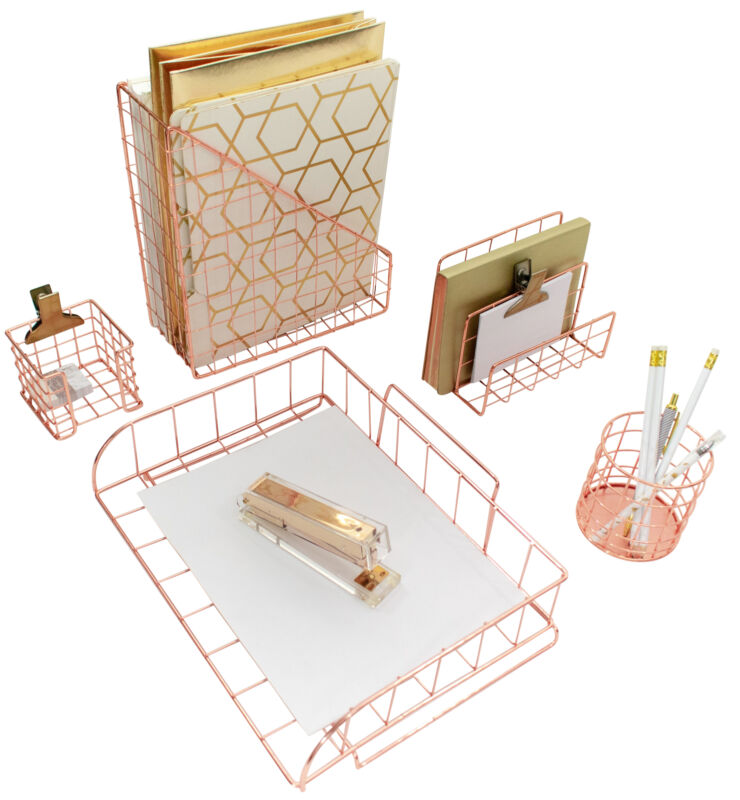 Blu Monaco Rose Gold 5 Piece Wire Desk Organizer Set