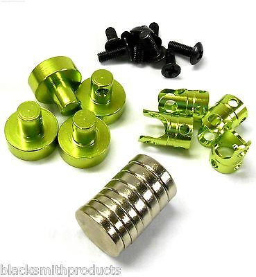 N10080G 1/10 Scale RC 21mm Long Magnetic Body Shell Mount Posts Alloy Green x 4