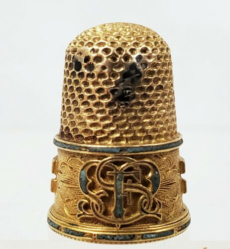 Antique Gold Thimble with Turquoise Inlay and Fancy Monogram