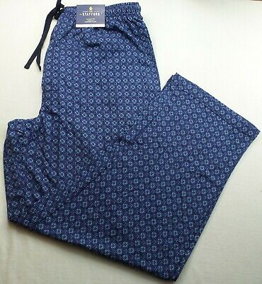Stafford Men's Jersey Pajama Pants Medium Navy Neat Blue Sleep Lounge Cotton New