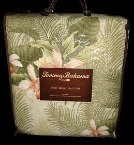 Full Queen Tommy Bahama Tropical Orchid Pillow Shams Quilt