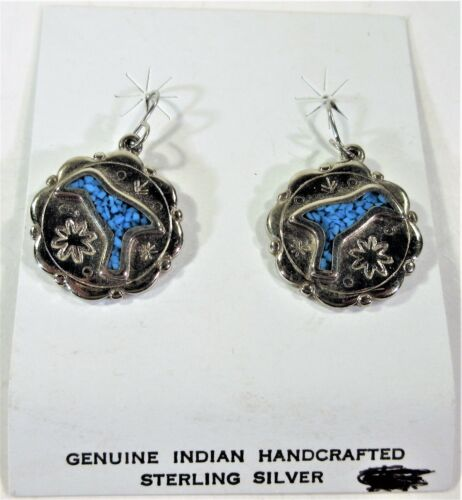 Trifari Sterling Silver Inlay Bird Hook Earrings
