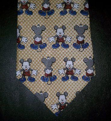 125T Mickey Unlimited Nib New Yellow Tan Check Gray Blue Red Mickey Tie