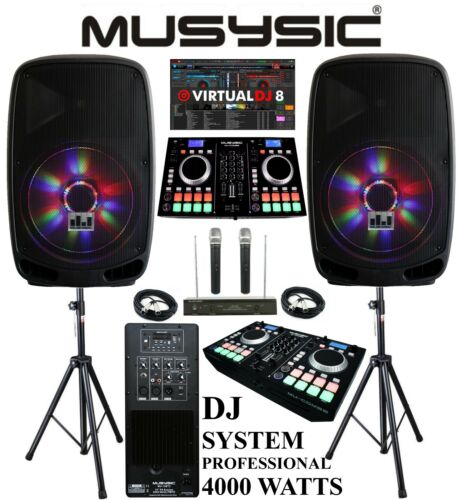 "Complete Professional 4000W DJ System Dual CD MIDI BT 15"" Speakers Wireless Mics"