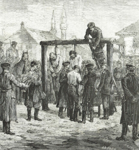 IMPICCAGIONE UFFICIALI TURCHI Polish Officials Hanging- Incisione Originale 1800