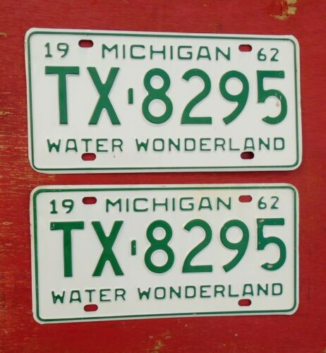 1962 Michigan Nice Original MINT NOS PAIR  TX-8295   License Plates