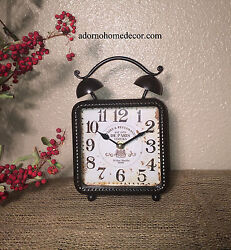 Brown Square Table Clock Paris Vintage Mantle Chic Decor Cottage Home Accent