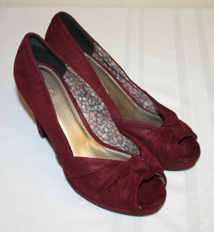 Womens Ladies CATO Burgundy Fabric PeepToe Heels Shoes Size 7M
