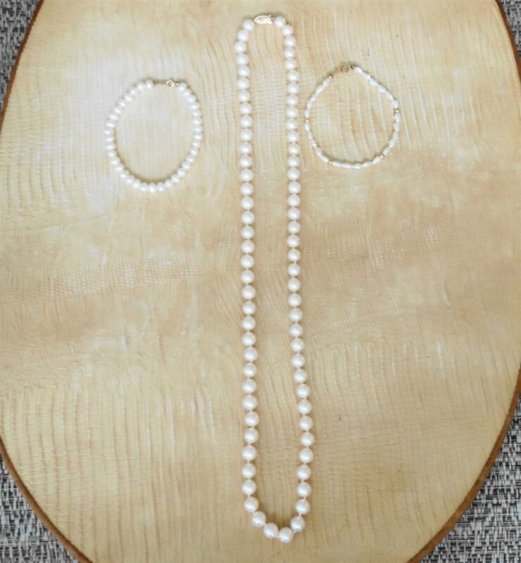 Lot of One 14K Pearl Necklace & Two 14K Pearl Bracelets All Wearable