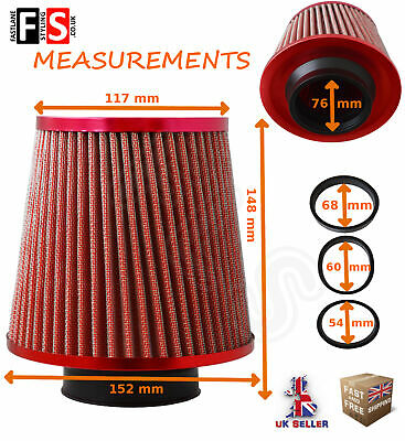 UNIVERSAL PERFORMANCE RED AIR FILTER INDUCTION KIT INTAKE UN1102C  VXH1