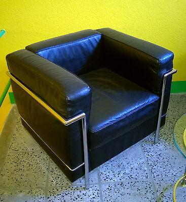 MaH8 Designer Sessel LC2 schwarz Kunstleder