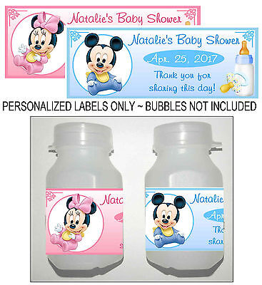 30 DISNEY MICKEY MOUSE MINNIE MOUSE BABY SHOWER FAVORS BUBBLE LABELS - Mickey Mouse Baby Shower Favors