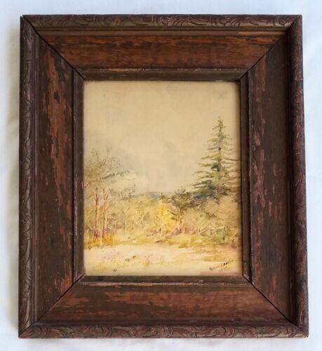 Original Massachusetts Artist Helen Loomis (- 1924) Wc Landscape, Excellent