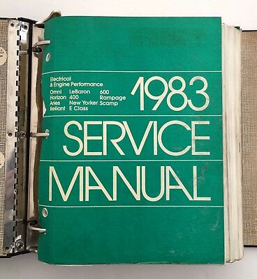 1983 Chrysler Car Service Manual Auto Engine Electrical Body Chassis Lot Gift