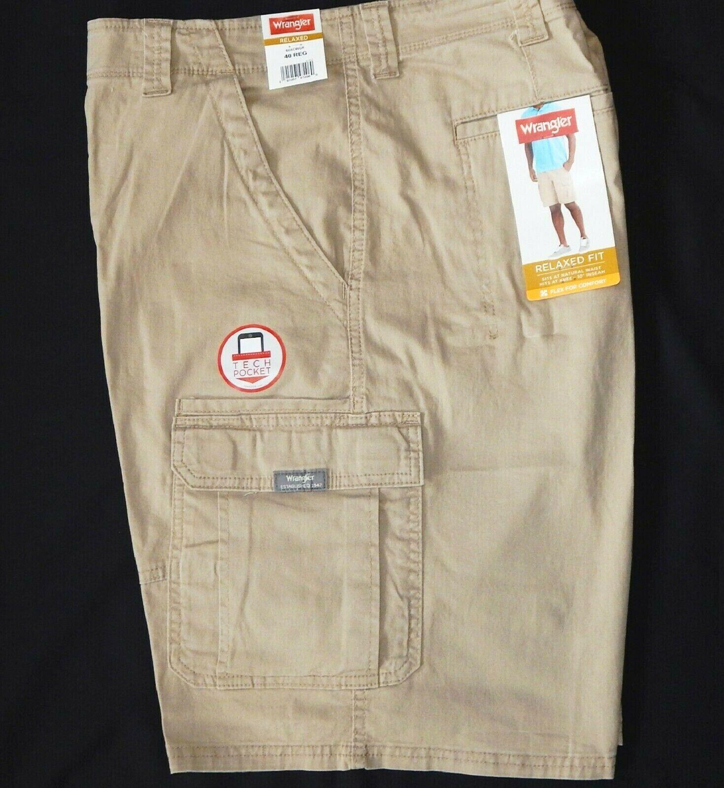 Men's Wrangler Flex Cargo Shorts Relaxed Fit w Tech Pocket K