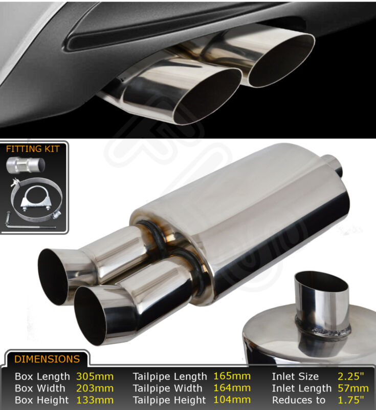 UNIVERSAL PERFORMANCE FREE FLOW STAINLESS STEEL EXHAUST BACKBOX LMO-003  LXS