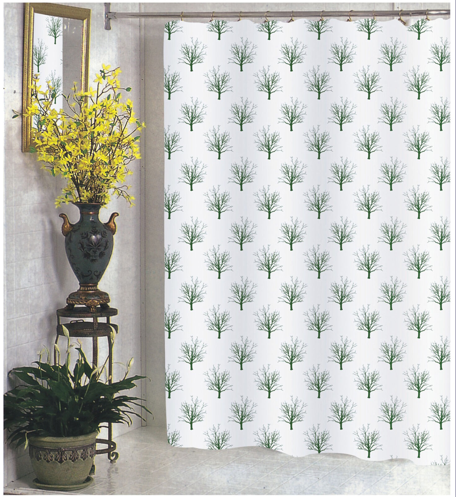 Carnation Home Fashions 100-Percent Polyester Fabric Print 70 by 84-Inch Shower Curtain Faith X-Long Black/White