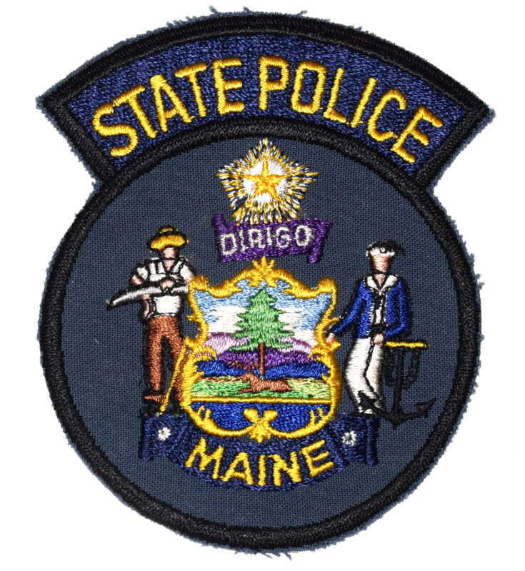 MAINE STATE POLICE ME Sheriff Police Patch STATE SEAL VINTAGE OLD MESH ~