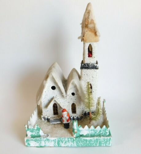 "Vintage Putz Christmas Church House Diorama Japan Mid Century 10 1/2"""