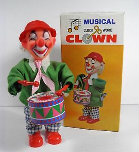 VINTAGE WIND-UP MUSICAL DRUMMER CLOWN TIN PLASTIC TOY W/BOX EXCELLENT!
