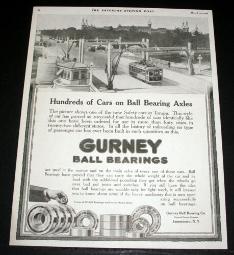 1918 OLD MAGAZINE PRINT AD, GURNEY BALL BEARINGS, SAFETY STREET CARS, TAMPA, FL!