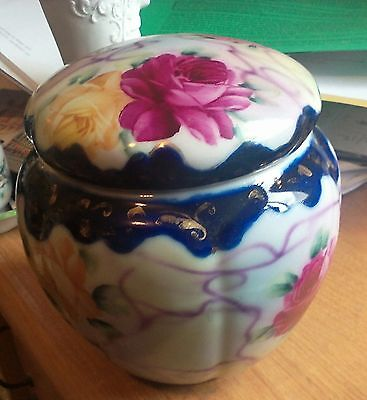 Antique Nippon Gilded Cobalt Biscuit Jar Urn W/ Lid Hand Painted Roses c 1890's
