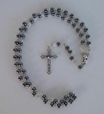 Rosenkranz Hämatit Perlen zur 1. Hl. Kommunion Junge / Mädchen Geschenk AR 36  ()