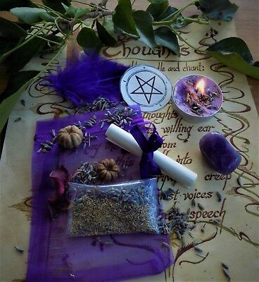 Ease Anxiety Spell Kit  Ritual Magic  Witchcraft Wicca Pagan Handmade Candle