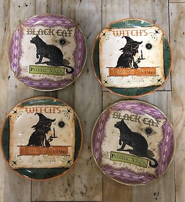 Halloween Salad (Brand New Halloween Salad Plates Set Of 4 Connections Black Cat And Witches)