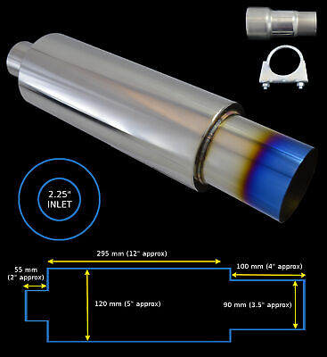 UNIVERSAL FREE FLOW STAINLESS STEEL BLUE PERFORMANCE EXHAUST BACK BOX-BEE2