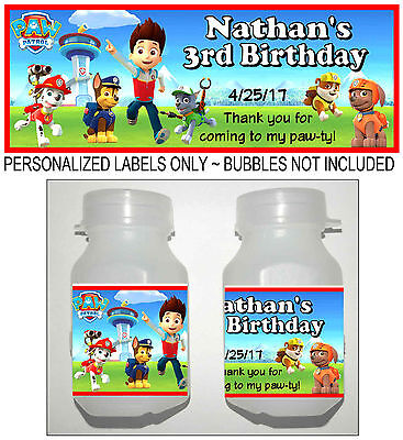 30 PAW PATROL BIRTHDAY PARTY FAVORS BUBBLE LABELS (Bubble Birthday Party)